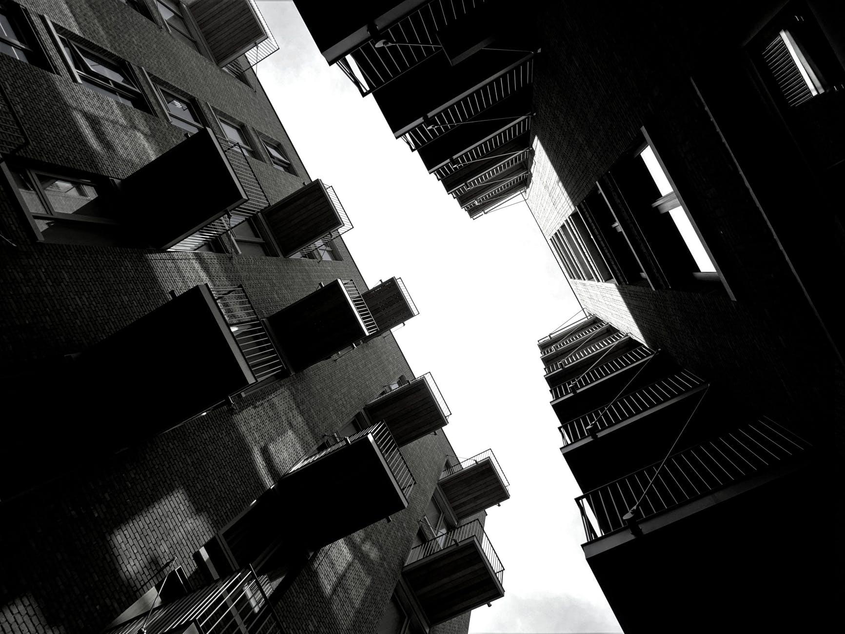architecture balcony black and white black and white