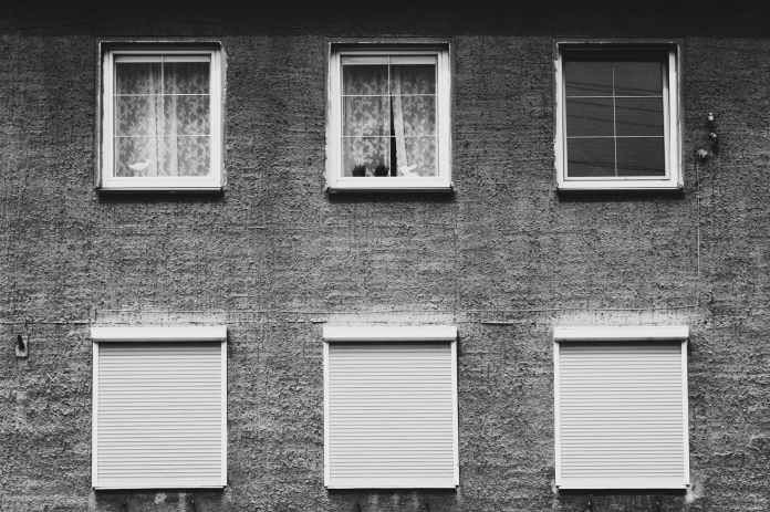 monochrome photography of windows