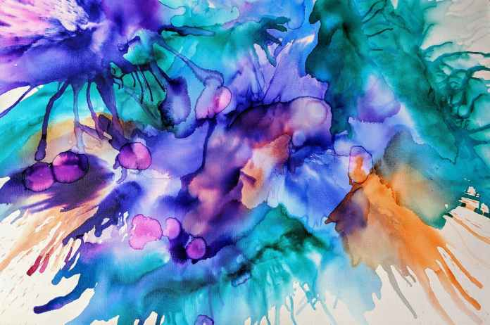 purple and teal splash painting