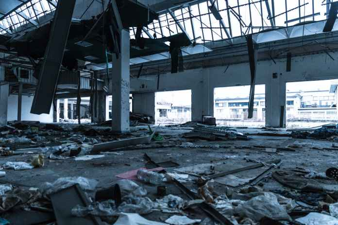 damaged building interior